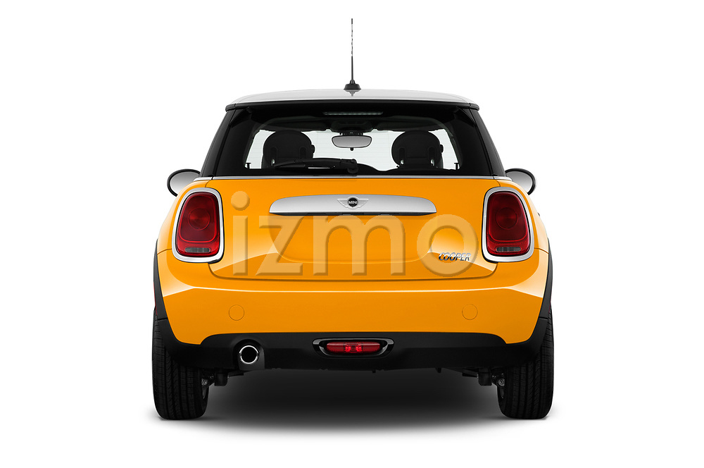 Straight rear view of 2017 MINI Cooper 3-door 3 Door Hatchback Rear View  stock images