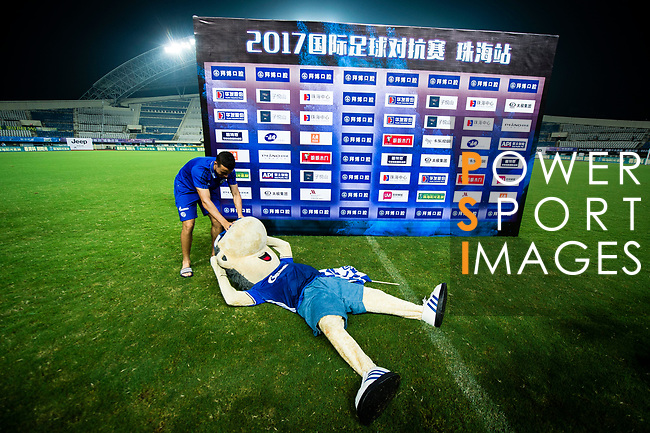 Schalke 04 Mascot Erwin takes a rest on the grass after Schalke winning Besiktas 3 -2 during the Friendly Football Matches Summer 2017 between FC Schalke 04 Vs Besiktas Istanbul at Zhuhai Sport Center Stadium on July 19, 2017 in Zhuhai, China. Photo by Marcio Rodrigo Machado / Power Sport Images