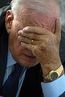 L'Aquila. la seconda udienza del processo alla commissione grandi rischi. 1°ottobre 2011.  l'avvocato Alfredo Biondi, difensore di Claudio Eva, ordinario di fisica all'università di Genova.