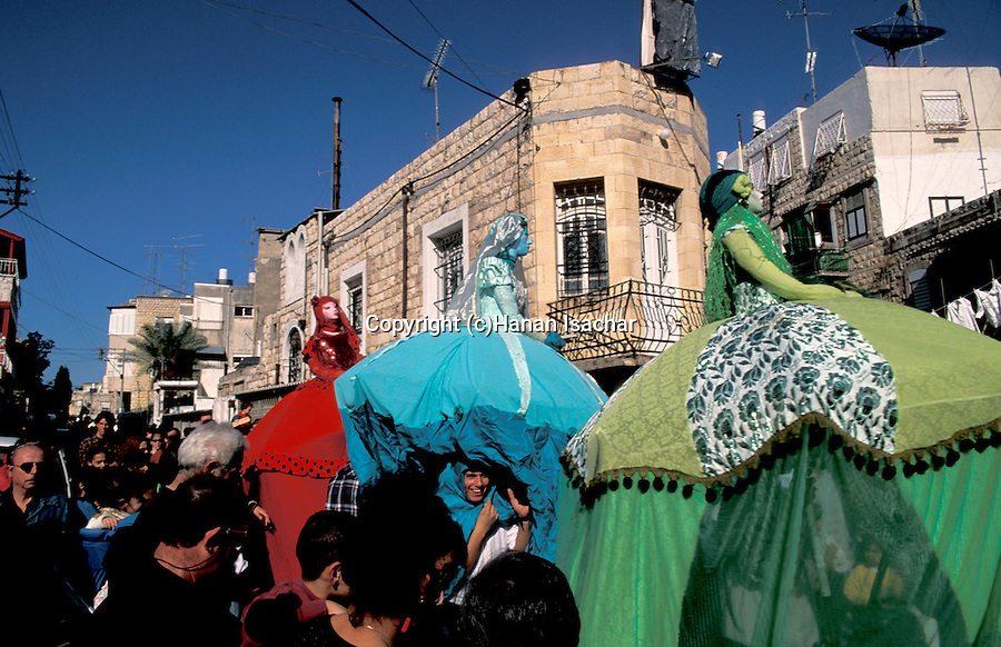Israel, Haifa. The Three Holidays Festival in Wadi Nisnas, celebrating Christmas Hanukkah and Ramadan