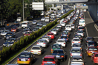 A congested street during rush hour in Beijing, China..13 Aug 2007