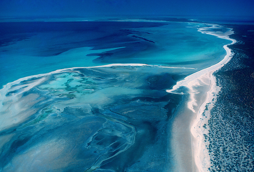 Aerial over Shark Bay in Western Australia, this is where you find the ancient and primitive lifeform the Stromatolites