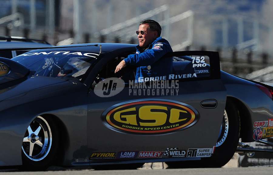 Apr. 4, 2009; Las Vegas, NV, USA: NHRA pro stock driver Gordie Rivera during qualifying for the Summitracing.com Nationals at The Strip in Las Vegas. Mandatory Credit: Mark J. Rebilas-
