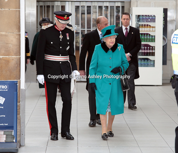 The Queen is greeted by the Lord Lieutenant David Moody in Sheffield, United Kingdom on 2 April 2015. Photo by Glenn Ashley