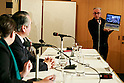 A journalist shows to Takenori Noda, Mayor of Kamaishi a video of the day that a tsunami destroyed his city, during a press conference at the Foreign Correspondents' Club of Japan on March 1, 2016, in Tokyo, Japan. Mayor Noda spoke the reconstruction of Kamaishi in Iwate, which was one of the cities badly affected by the Great East Japan Earthquake and Tsunami on March 11, 2011. Noda has been Mayor of Kamaishi since 2007. (Photo by Rodrigo Reyes Marin/AFLO)