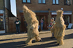Straw Bear Festival. Whittlesea Whittlesey Cambridgeshire UK 2008. Straw Bear. Children Bear behind the procession around the town.
