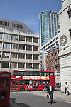City Point from Finsbury Circus with red double decker bus, London, England
