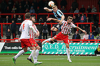 Jason Banton of Wycombe Wanderers wins a header during the Sky Bet League 2 match between Stevenage and Wycombe Wanderers at the Lamex Stadium, Stevenage, England on 17 October 2015. Photo by PRiME Media Images.