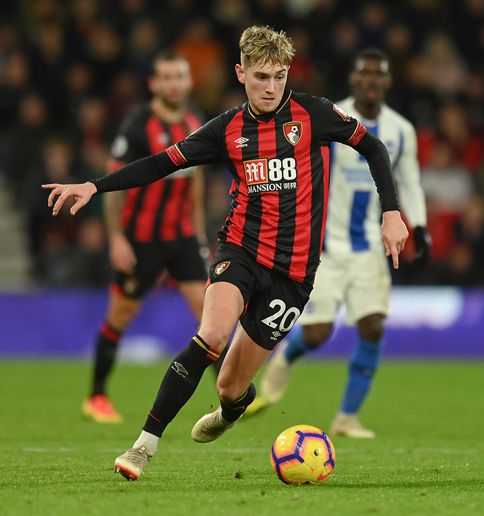 match of the match Bournemouth's David Brooks scored both goals for his side giving Bournemouth a 2-0 win over Brighton & Hove Albion <br /> <br /> Photographer David Horton/CameraSport<br /> <br /> The Premier League - Bournemouth v Brighton and Hove Albion - Saturday 22nd December 2018 - Vitality Stadium - Bournemouth<br /> <br /> World Copyright © 2018 CameraSport. All rights reserved. 43 Linden Ave. Countesthorpe. Leicester. England. LE8 5PG - Tel: +44 (0) 116 277 4147 - admin@camerasport.com - www.camerasport.com