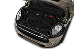 Car stock 2018 Mini MINI Cooper S Chilli 5 Door Hatchback engine high angle detail view
