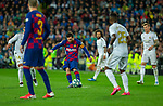FC Barcelona's forwar Lionel Messi controls the ball under the pressure of several rivals La Liga match. Mar 01, 2020. (ALTERPHOTOS/Manu R.B.)