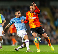 Gabriel Jesus of Manchester City and Alan Patrick of Shakhtar Donetsk during the UEFA Champions League Group C match between Manchester City and Shakhtar Donetsk at the Etihad Stadium on November 26th 2019 in Manchester, England. (Photo by Daniel Chesterton/phcimages.com)