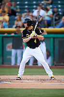 Nolan Fontana (4) of the Salt Lake Bees bats against the Albuquerque Isotopes in Pacific Coast League action at Smith's Ballpark on June 10, 2017 in Salt Lake City, Utah. The Isotopes defeated the Bees 4-2. (Stephen Smith/Four Seam Images)