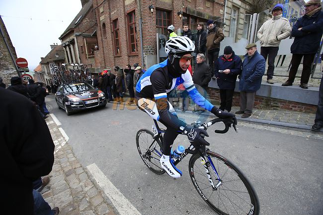 Riders including David Tanner (Blanco Pro Cycling Team) climb Casselberg for the 2nd time passing through the old town of Cassel during the 75th edition of Gent-Wevelgem, France, 24th  March 2013 (Photo by Eoin Clarke 2013)