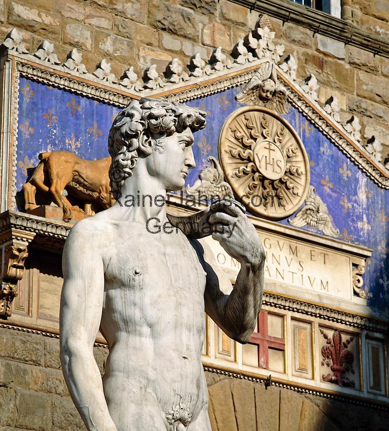 Italy, Tuscany, Florence: Michelangelo's Statue of David | Italien, Toskana, Florenz: Michelangelos David Statue, die Kopie auf der Piazza della Signoria