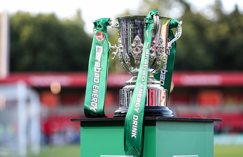 A general view of the League Cup<br /> <br /> Photographer Alex Dodd/CameraSport<br /> <br /> The Carabao Cup First Round - Salford City v Leeds United - Tuesday 13th August 2019 - Moor Lane - Salford<br />  <br /> World Copyright © 2019 CameraSport. All rights reserved. 43 Linden Ave. Countesthorpe. Leicester. England. LE8 5PG - Tel: +44 (0) 116 277 4147 - admin@camerasport.com - www.camerasport.com