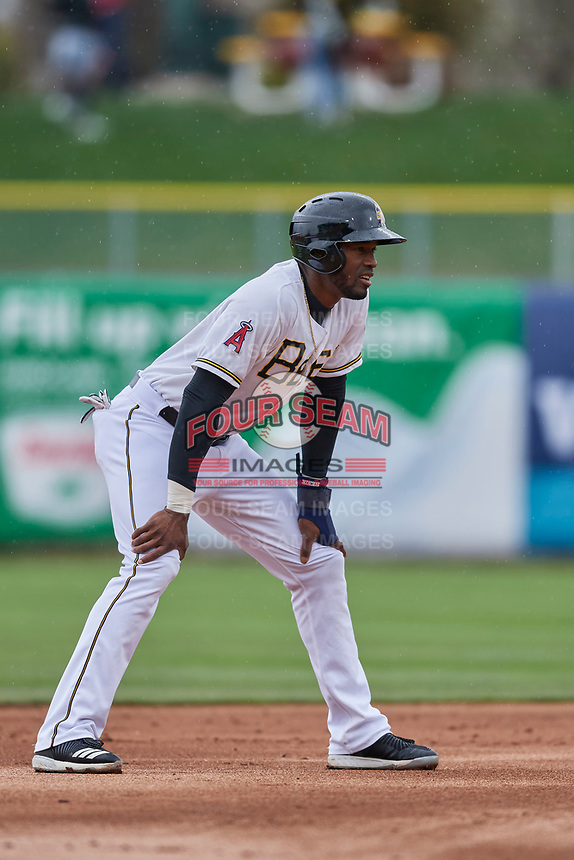 Jabari Blash (36) of the Salt Lake Bees during the game against the Albuquerque Isotopes at Smith's Ballpark on April 8, 2018 in Salt Lake City, Utah. Albuquerque defeated Salt Lake 11-4. (Stephen Smith/Four Seam Images)