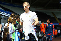 Joe Hart of Manchester City arrives before the Barclays Premier League match between Swansea City and Manchester City played at The Liberty Stadium, Swansea on 15th May 2016