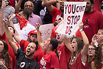 07 MAY 2016: Ohio State University fans cheer for their Buckeyes against Brigham Young University during the Division I Men's Volleyball Championship held at Rec Hall on the Penn State University campus in University Park, PA.  Ohio State defeated BYU 3-1 for the national title.  Ben Solomon/NCAA Photos