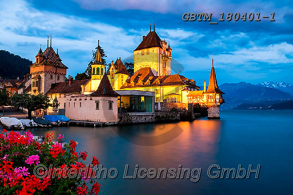 Tom Mackie, LANDSCAPES, LANDSCHAFTEN, PAISAJES, photos,+Europe, European, Lake Thun, Oberhofen Castle, Swiss, Switzerland, Thunersee, Tom Mackie, architecture, blue hour, building,+buildings, castle, castles, destination, destinations, flower, flowers, horizontal, horizontals, lake, lakes, landscape, land+scapes, night time, nightscene, red, time of day, tourist attraction, travel, water,Europe, European, Lake Thun, Oberhofen Ca+stle, Swiss, Switzerland, Thunersee, Tom Mackie, architecture, blue hour, building, buildings, castle, castles, destination,+,GBTM180401-1,#l#, EVERYDAY