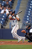 Fort Myers Miracle designated hitter Rafael P Valera (8) follows through on a swing during a game against the Tampa Yankees on April 12, 2017 at George M. Steinbrenner Field in Tampa, Florida.  Tampa defeated Fort Myers 3-2.  (Mike Janes/Four Seam Images)
