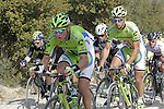 The peloton with Matthias Krizek (AUT) leading Peter Sagan (SVK) Cannondale on the front on the 5th sector of strade near Murlo during the 2014 Strade Bianche race over the white dusty gravel roads of Tuscany, Italy. 8th March 2014.<br /> Picture: Eoin Clarke www.newsfile.ie