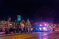 Santa arrives at the Christmas tree lighting ceremony in front of the Westerville CityHall.