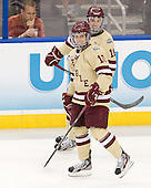 Danny Linell (BC - 10), Michael Sit (BC - 18) - The Boston College Eagles defeated the University of Minnesota Golden Gophers 6-1 in their 2012 Frozen Four semi-final on Thursday, April 5, 2012, at the Tampa Bay Times Forum in Tampa, Florida.