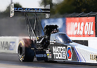 Jan 15, 2015; Jupiter, FL, USA; NHRA top fuel driver Antron Brown during preseason testing at Palm Beach International Raceway. Mandatory Credit: Mark J. Rebilas-USA TODAY Sports