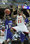 Winston-Salem Prep's Chad Hicks (23) tries for an offensive rebound during the Phoenix' 61-49 win in the State Championship against Plymouth at the Dean Smith Center in Chapel Hill, NC, on Saturday, March 10, 2012.  Photo by Ted Richardson