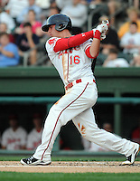 Infielder David Renfroe (16) of the Greenville Drive, Class A affiliate of the Boston Red Sox, in a game against the Charleston RiverDogs on April 11, 2011, at Fluor Field at the West End in Greenville, S.C. Renfroe was a third-round pick in the 2009 First-Year Player Draft. Photo by Tom Priddy / Four Seam Images