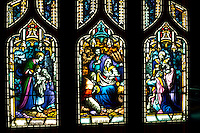 Crèche (3 panel) stained glass at Reformation Lutheran Church. St Paul Minnesota USA