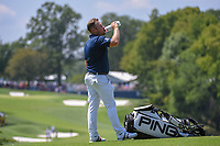 Tyrell Hatton (ENG) chugs a cold drink after putting on 8 during 3rd round of the 100th PGA Championship at Bellerive Country Club, St. Louis, Missouri. 8/11/2018.<br /> Picture: Golffile | Ken Murray<br /> <br /> All photo usage must carry mandatory copyright credit (&copy; Golffile | Ken Murray)