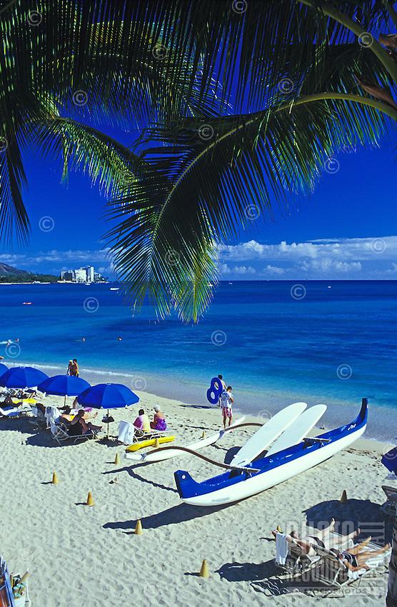 Waikiki beach with outrigger canoe, Island of Oahu