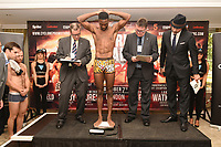 Asinia Byfield on the scales during a Cyclone Promotions Weigh-In at the Grosvenor House Hotel on 6th October 2017