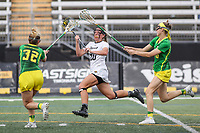Towson, MD - March 25, 2017: Towson Tigers Tianna Wallpher (20) attempts a shot during game between Towson and Oregon at  Minnegan Field at Johnny Unitas Stadium  in Towson, MD. March 25, 2017.  (Photo by Elliott Brown/Media Images International)
