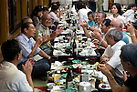 "Customers enjoy dinner and entertainment aboard a ""Yakata-bune"" pleasure boat named ""Kachidoki"", which is operated by Harumiya Co. in Tokyo, Japan on 31 August  2010. .Photographer: Robert Gilhooly"