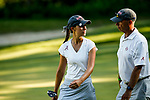 STILLWATER, OK - MAY 21: Cheyenne Knight of Alabama talks with head coach Mick Potter during the Division I Women's Golf Individual Championship held at the Karsten Creek Golf Club on May 21, 2018 in Stillwater, Oklahoma. (Photo by Shane Bevel/NCAA Photos via Getty Images)