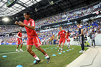 Roy Miller (7) of the New York Red Bulls warms up prior to a friendly between Santos FC and the New York Red Bulls at Red Bull Arena in Harrison, NJ, on March 20, 2010. The Red Bulls defeated Santos FC 3-1.
