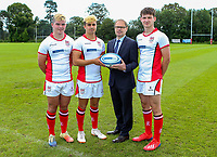 Monday 12th August 2019 | Ulster Schools U18<br /> <br /> Methodist College Belfast and Ulster Schools U18 players Peter O'Hagan, Ethan Bryce and Luke Graham are pictured with Richard Caldwell representing the sponsors Danske Bank during a photo call at the Ulster Schools training base at Newforge Country Club, Belfast, Northern Ireland. Photo by John Dickson / DICKSONDIGITAL