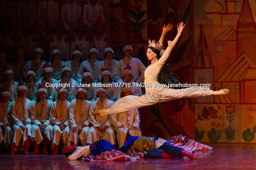 "London, UK. 08.07.2014. Andris Liepa returns to the London Coliseum with his programme of ""Saisons Russes de XXIe Siecle"" from July 8th to 19th. The programme includes the London premiere of Rimsky-Korsakov's LE COQ D'OR, or THE GOLDEN COCKEREL. Dancers are: Pavel Okuev (Golden Cockerel), Oleg Fomin (Dodon), Natalia Savelieva Polkan (Queen of Shamakha), Yulia Selivanova (Amelfa), Ekaterina Blaschik (Guidon), Ekaterina Zaytseva (Afron), Maksim Podshivaylenko (Astrologer). Photograph © Jane Hobson."