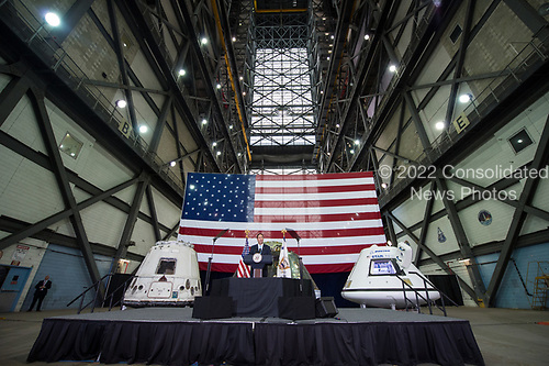 In this photo released by the National Aeronautics and Space Administration (NASA) Acting NASA Director, Robert Lightfoot, welcomes guests and introduces United States Vice President Mike Pence, Thursday, July 6, 2017, at the Vehicle Assembly Building at NASA&rsquo;s Kennedy Space Center (KSC) in Cape Canaveral, Florida. Vice President Mike Pence is also scheduled to speak at the event to highlight innovations made in America and tour some of the public/private partnership work that is helping to transform the center into a multi-user spaceport. <br /> Mandatory Credit: Aubrey Gemignani / NASA via CNP
