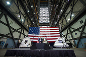 In this photo released by the National Aeronautics and Space Administration (NASA) Acting NASA Director, Robert Lightfoot, welcomes guests and introduces United States Vice President Mike Pence, Thursday, July 6, 2017, at the Vehicle Assembly Building at NASA's Kennedy Space Center (KSC) in Cape Canaveral, Florida. Vice President Mike Pence is also scheduled to speak at the event to highlight innovations made in America and tour some of the public/private partnership work that is helping to transform the center into a multi-user spaceport. <br /> Mandatory Credit: Aubrey Gemignani / NASA via CNP