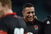 Mako Vunipola of England is all smiles after the match. Old Mutual Wealth Series International match between England and Argentina on November 11, 2017 at Twickenham Stadium in London, England. Photo by: Patrick Khachfe / Onside Images