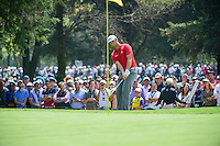 Jon Rahm (ESP) chips on 3 during round 4 of the World Golf Championships, Mexico, Club De Golf Chapultepec, Mexico City, Mexico. 3/5/2017.<br /> Picture: Golffile | Ken Murray<br /> <br /> <br /> All photo usage must carry mandatory copyright credit (&copy; Golffile | Ken Murray)