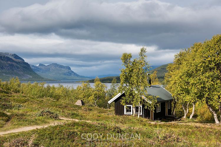 Mountain hut at STF Saltoluokta Fjällstation, Kungsleden Trail, Lapland, Sweden