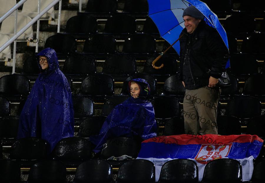 Fudbal, kvalifikacije za UEFA EURO 2016 qualifiers-Qualifying round - Group I<br /> Srbija v Portugal<br /> Navijaci Srbije fans supporters flags zastave<br /> Beograd, 11.10.2015.<br /> foto: Srdjan Stevanovic/Starsportphoto &copy;