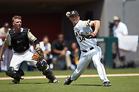 Army Black Knights starting pitcher Matt Ball (34) makes a throw to first base after fielding a bunt against the North Carolina State Wolfpack at Doak Field at Dail Park on June 3, 2018 in Raleigh, North Carolina. The Wolfpack defeated the Black Knights 11-1. (Brian Westerholt/Four Seam Images)