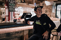 1 last morning coffee for Esteban Chavez (COL/Mitchelton-Scott) before having to leave for the last mountain stage of the 2018 Giro<br /> <br /> stage 20: Susa - Cervinia (214km)<br /> 101th Giro d'Italia 2018