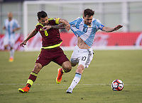Foxborough, MA - Saturday June 18, 2016: Lionel Messi, Tomas Rincon during a Copa America Centenario quarterfinal match between Argentina (ARG) and Venezuela (VEN)  at Gillette Stadium.